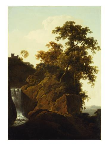 Rocky Landscape with a Waterfall Giclee Print