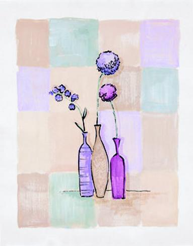 Modern Vases with Alliums Art Print