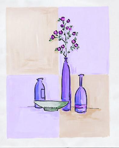 Modern Vases with Bowl Art Print