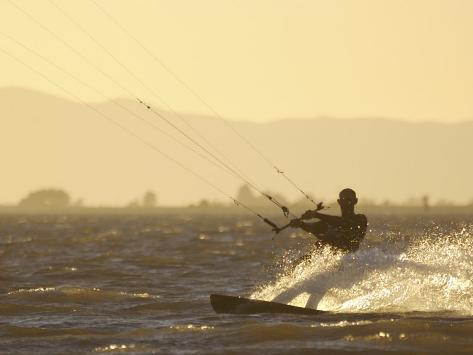 Kite Boarding in the Sacramento River, Sherman Island, Rio Vista, California Photographic Print