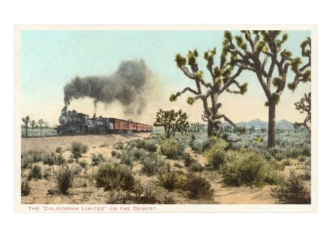 Joshua Trees, Train, California Art Print
