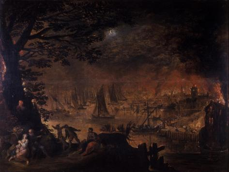 Burning Town by the Sea Giclee Print