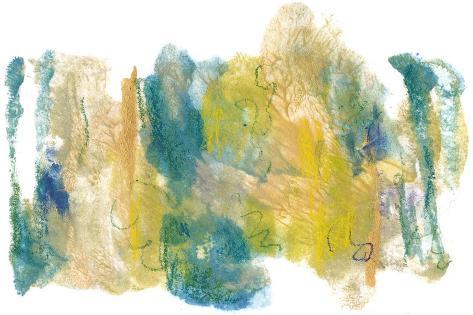 Teal & Scribbles I Art Print