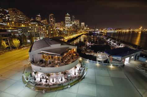 Seattle City Skyline and Marina at Night Photographic Print