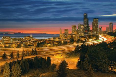 Seattle Cityscape after Sunset Photographic Print