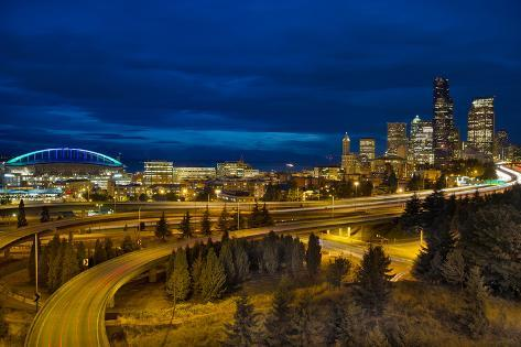 Seattle Downtown Skyline and Freeway at Twilight Photographic Print