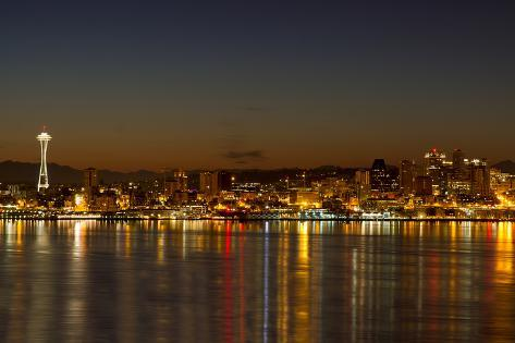 Seattle Downtown Skyline Reflection at Dawn Photographic Print