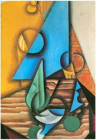 Juan Gris Bottle and Glass on a Table Cubism Art Print Poster Poster