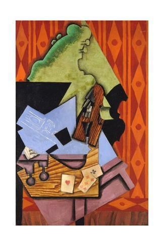 Violin and Playing Cards on a Table Giclee Print