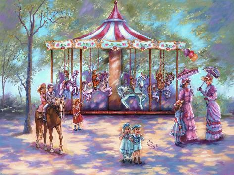 Red Carousel Giclee Print