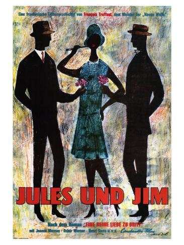Jules and Jim, German Movie Poster, 1961 Premium Giclee Print