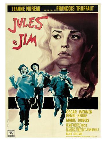 Jules and Jim, Italian Movie Poster, 1961 Impressão artística