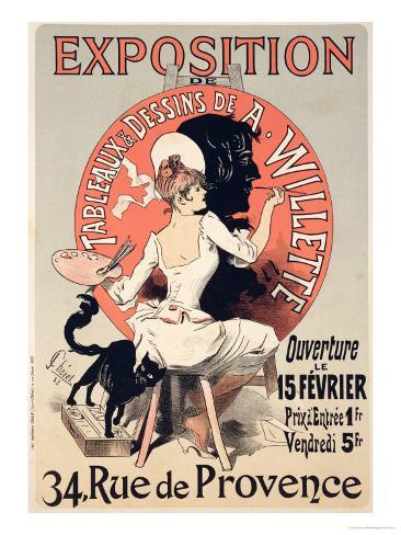 Reproduction of a Poster Advertising an Exhibition of the Paintings and Drawings of A. Willette Giclee Print