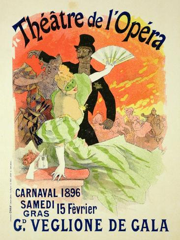 Reproduction of a Poster Advertising the 1896 Carnival at the Theatre De L'Opera Giclee Print