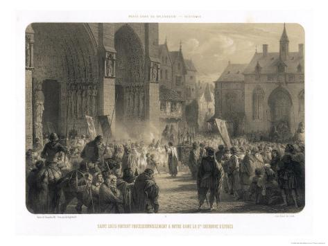 Louis IX, King of France, Brings Back Jesus' Crown of Thorns from the Holy Land Lámina giclée