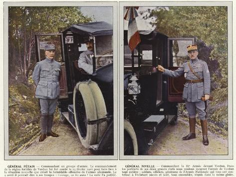 General Petain, General Nivelle Stampa fotografica