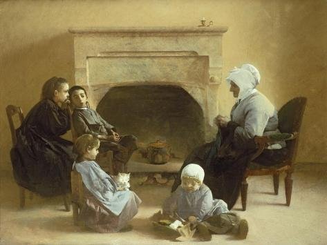 Family Seated Around a Hearth Lámina giclée