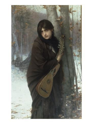 A Gypsy Girl with a Mandora Lámina giclée