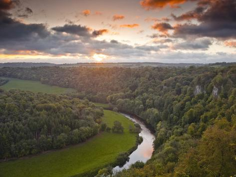 Looking Down on the River Wye from Symonds Yat Rock, Herefordshire, England, United Kingdom, Europe Photographic Print