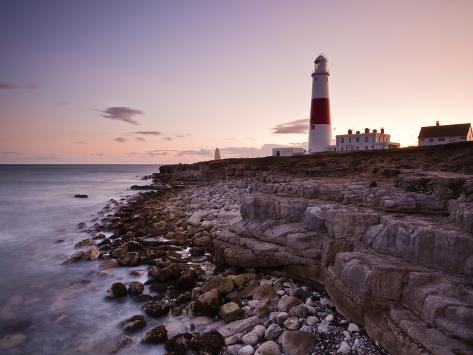 Portland Bill Lighthouse at Sunset, Dorset, England, United Kingdom, Europe Photographic Print