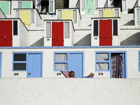Beach Huts on Tolcarne Beach, Newquay, Cornwall, England Photographic Print