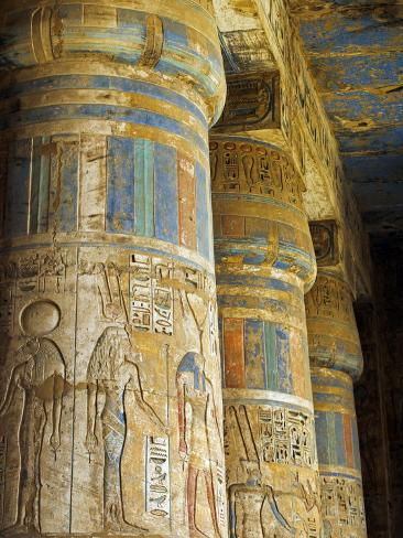 Painted Sunken Relief Carving Adorns Columns in the Mortuary Temple of Ramses Iii on the West Bank  Photographic Print