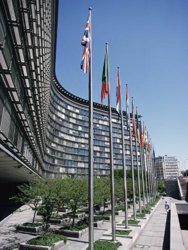 Flags of Eu Member Countries, Brussels, Belgium Photographic Print