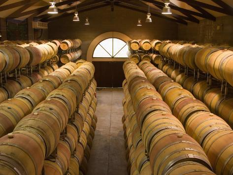 Oak Barrels in Wine Cellar at Groth Winery in Napa Valley, California, USA Photographic Print