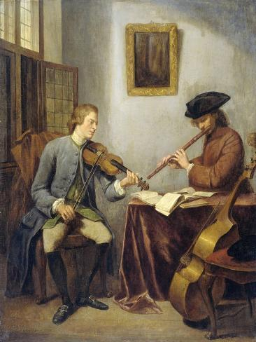 A Violinist and a Flutist Playing Music Art Print