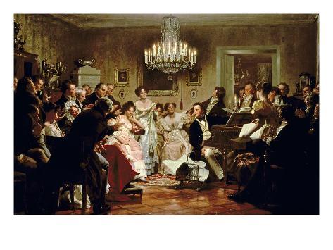 A Schubert Evening in a Vienna Salon Lámina giclée