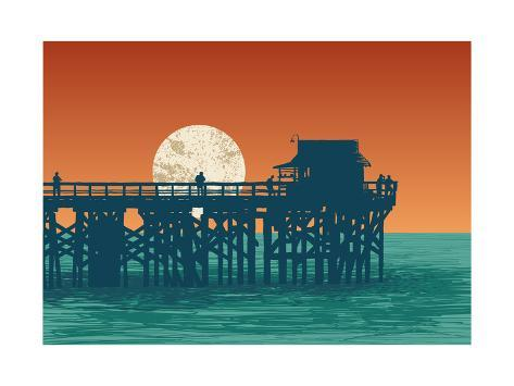 オールポスターズの jumpingsack oceanic view with silhouette pier