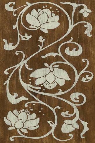 Faux Bois Floral I Art Print