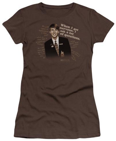 Juniors: 30 Rock-Lot Of Questions Juniors (Slim) T-Shirt