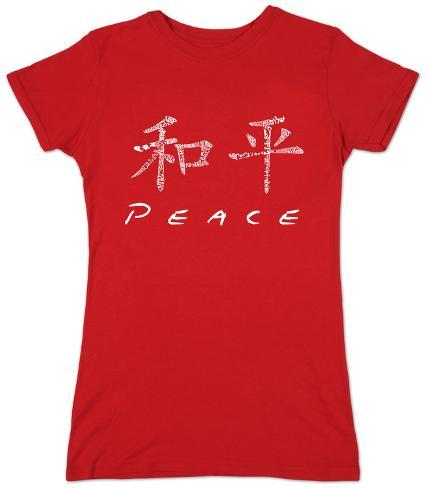 Juniors: Chinese Peace Symbol Womens T-Shirts