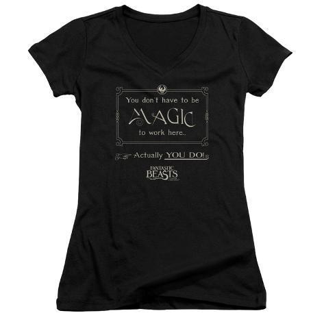 Juniors: Fantastic Beasts- Magic To Work Here V-Neck Womens V-Necks