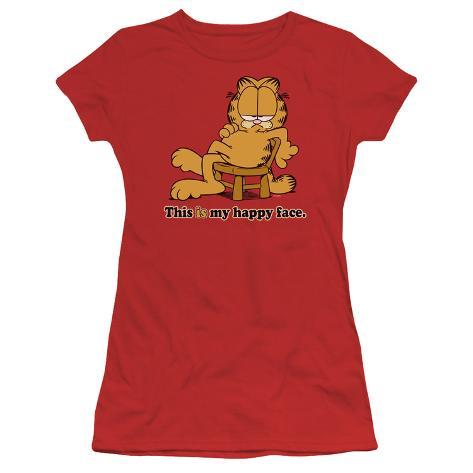 Juniors: Garfield-Happy Face Womens T-Shirts