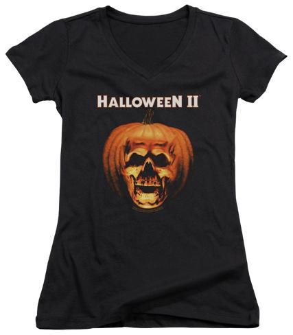 Juniors: Halloween II - Pumpkin Shell V-Neck Womens V-Necks