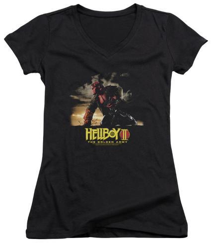 Juniors: Hellboy II - Poster Art V-Neck Womens V-Necks