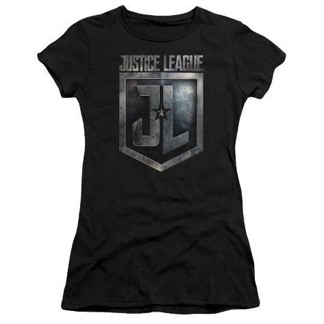 Juniors: Justice League Movie - Shield Logo Womens T-Shirts