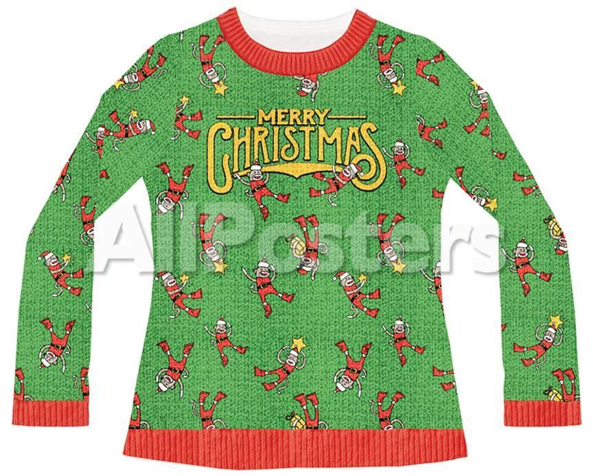 Juniors Long Sleeve: Sock Monkey Ugly Sweater (Front/Back) Womens ...