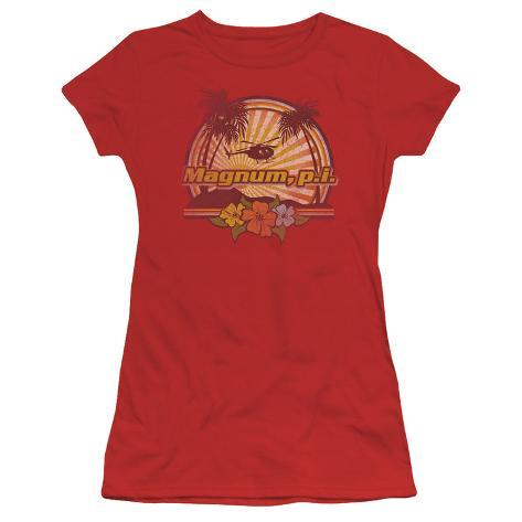 Juniors: Magnum PI-Hawaiian Sunset Womens T-Shirts