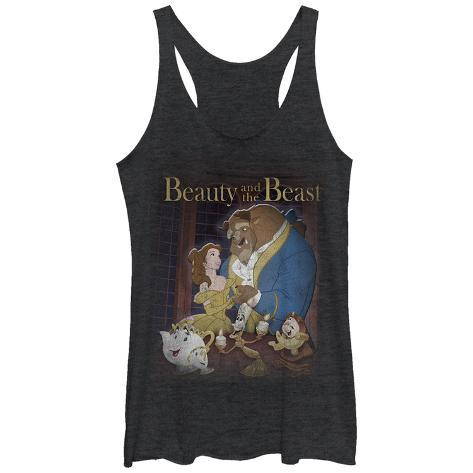 Juniors Tank Top: Disney: Beauty & The Beast- Classic Poster Distressed Scoop Neck Womens Tank Tops