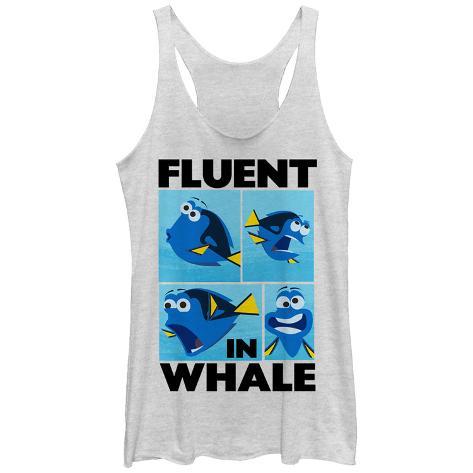 Juniors Tank Top: Disney: Finding Nemo- Dory Fluent In Whale Scoop Neck Womens Tank Tops