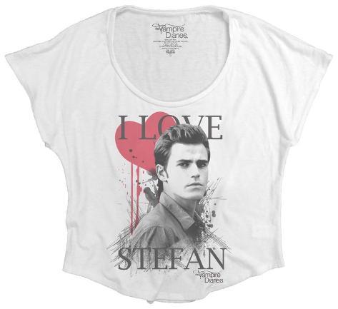 Juniors: The Vampire Diaries - I Heart Stefan (Dolman) T-Shirt