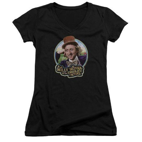 Juniors: Willy Wonka And The Chocolate Factory/Smiling Willy Badge V-Neck Womens V-Necks