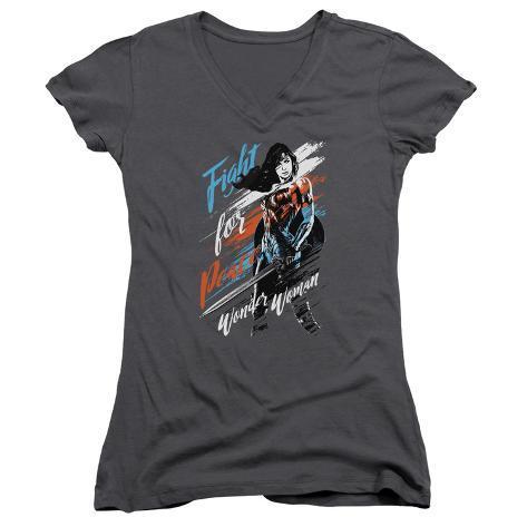 Juniors: Wonder Woman Movie - Fight For Peace V-Neck Womens V-Necks