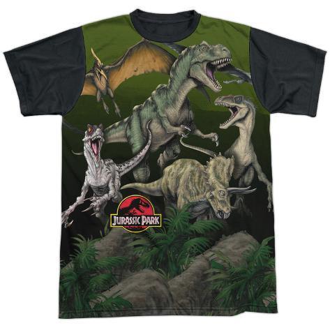Jurassic Park- Pack Of Dinos Black Back T-Shirt