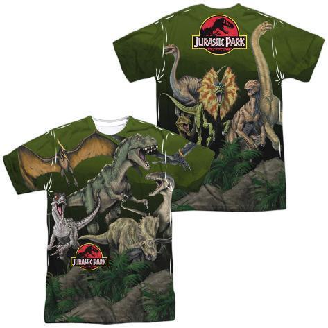 Jurassic Park- Pack Of Dinos (Front/Back) T-Shirt