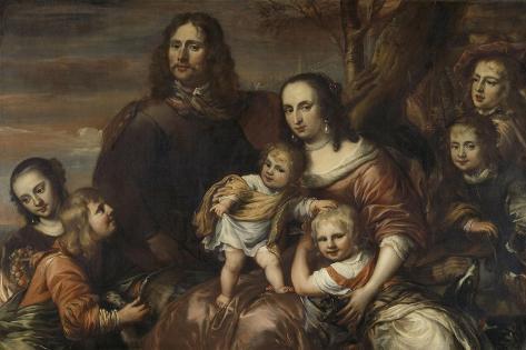 A Couple with Six Children, Jurgen Ovens Art Print