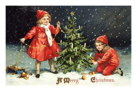 A Merry Christmas with Two Children Decorating Tree Giclee Print
